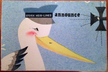 """STORK HEIR-LINES announce"" Front cover for Joseph Russell Linton's birth announcement"
