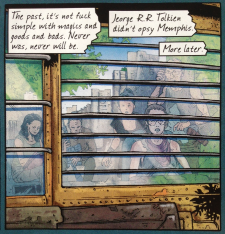 Crossed Plus One Hundred No.2, Page 1, panel 6. Written by Alan Moore, drawn by Gabriel Andrade
